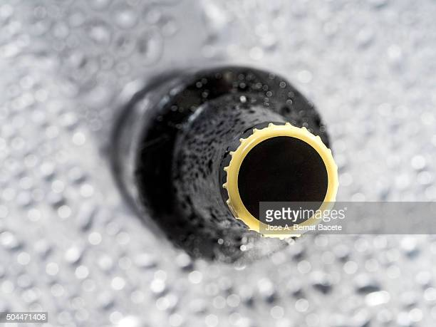 Bottle of empty beer on a wet surface