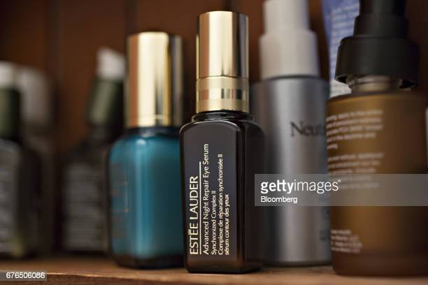 A bottle of Estee Lauder Companies Inc antiaging eye serum is arranged for a photograph in Tiskilwa Illinois US on Monday May 2 2017 Estee Lauder is...