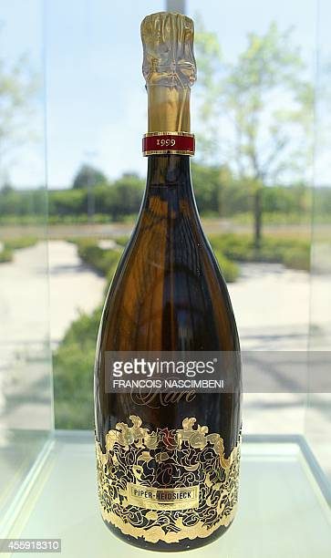 Bottle of fine Piper-Heidsieck champagne is displayed in the headquarters of the Piper-Heidsieck company, near the French northeastern city of Reims,...