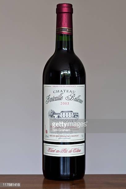 Bottle of French Bordeaux wine Chateau Fontcaille Bellevue 2003 Grand Vin de Bordeaux and Bordeaux Superieur France