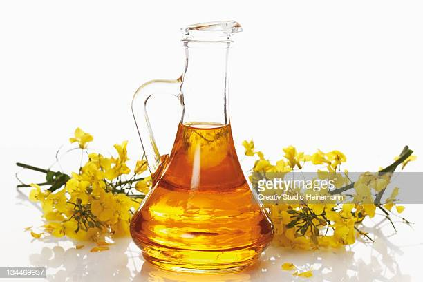 Bottle of fresh canola oil with rapeseed flowers
