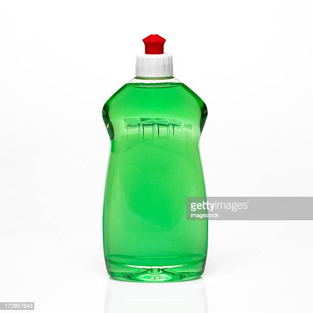 A bottle of green dishwashing detergent