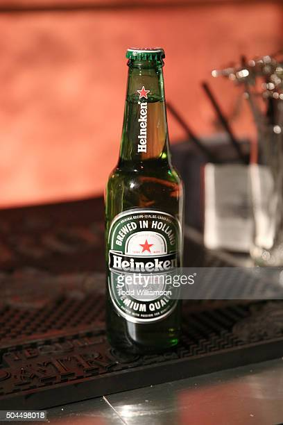 A bottle of Heineken is displayed at the FOX Golden Globe Awards Awards Party 2016 sponsored by American Airlines at The Beverly Hilton Hotel on...