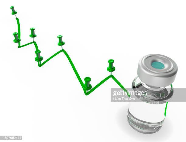 a bottle of medication on a drawn green graph line surface with map pins at the declining peaks leading to a medicine bottle for injections - atomic imagery stock pictures, royalty-free photos & images