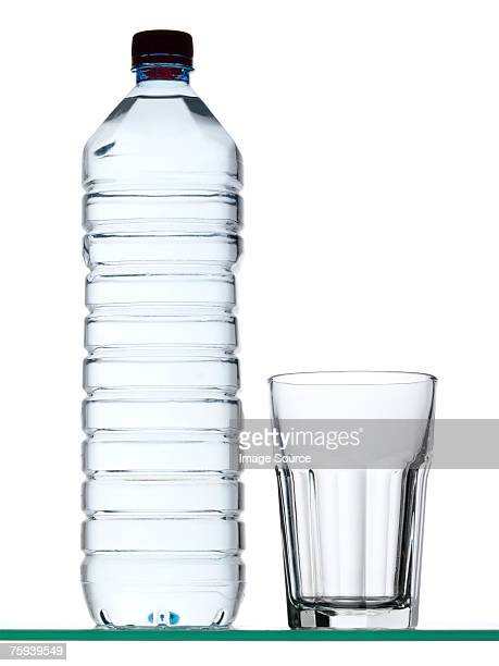 Bottle of mineral water and glass