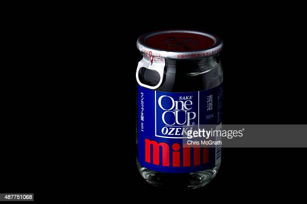 A bottle of one shot sake from a convenience store or 'konbini' is pictured on September 11 2015 in Tokyo Japan Japan's Konbini stores are famous for...