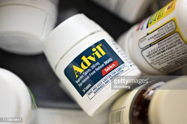 A bottle of Pfizer Inc Advil brand ibuprofen tablets is displayed for a photograph in Tiskilwa Illinois US on Wednesday Oct 23 2019 Pfizer is...