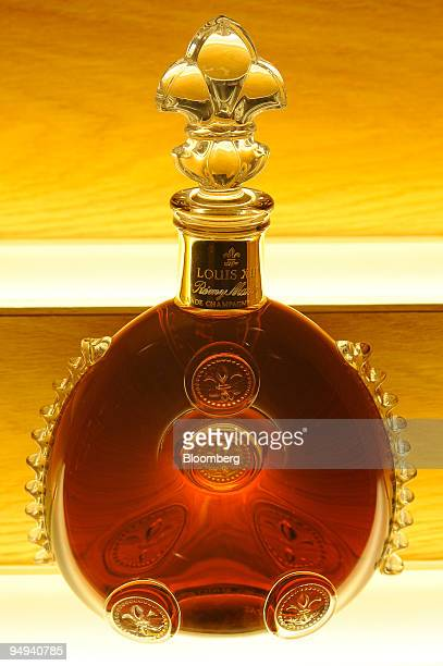 A bottle of Remy Martin Louis XIII Grande Champagne Cognac sits on display at the Remy Martin distillery in Cognac France on Tuesday April 14 2009...