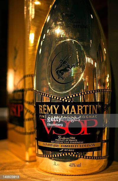 A bottle of Remy Martin VSOP Limited Edition Cognac is arranged for a photograph at the Remy Cointreau SA headquarters in Cognac France on Thursday...