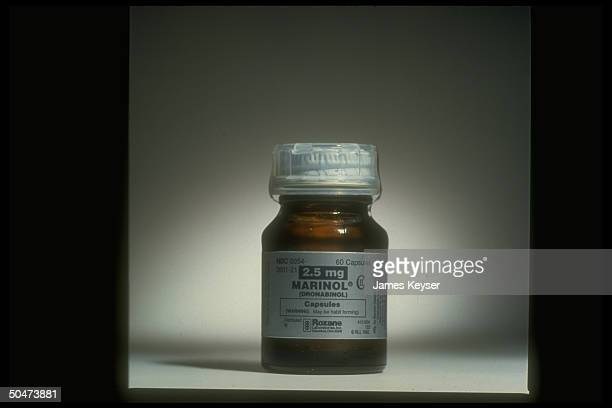Bottle of Roxane Laboratories' Marinol dronabinol capsules synthetic form of substance in marijuana which causes hunger used as appetite stimulant...