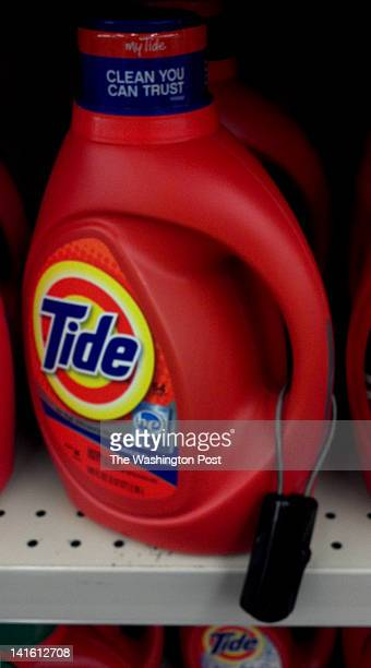 A bottle of Tide laundry detergent complete with antitheft device sits on the shelf at the CVS drugstore on 12th Street SE on Capitol Hill in...