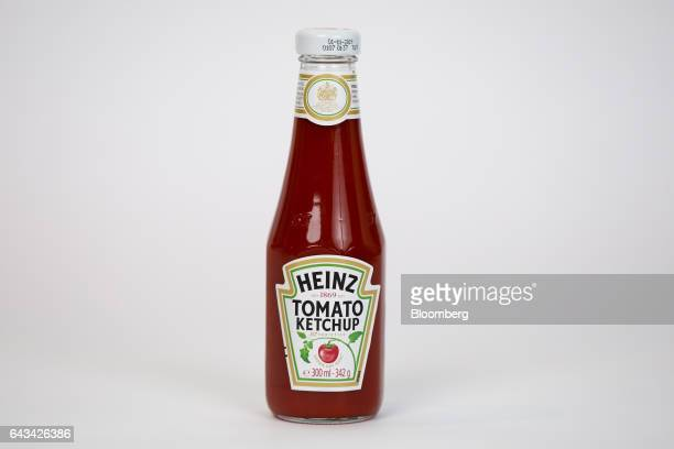 A bottle of tomato ketchup manufactured by Kraft Heinz Co stands in this arranged photograph in London UK on Tuesday Feb 21 2017 On Sunday Kraft...