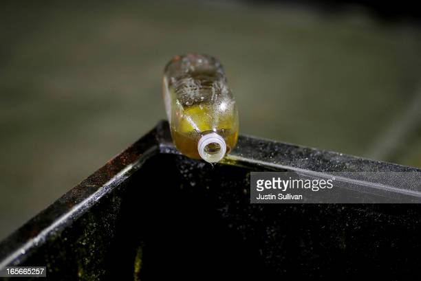 A bottle of used cooking oil drips into a dumpster on April 5 2013 in San Francisco California Launched in 2007 SFGreasecycle is a program that will...