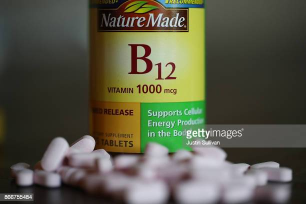 A bottle of vitamins B12 pills is displayed on October 26 2017 in San Anselmo California According to a report in the Journal of Clinical Oncology...