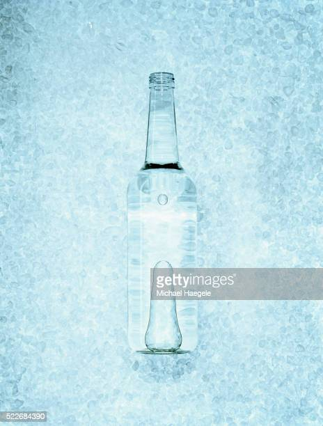 bottle of vodka on ice