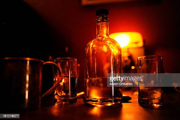 A bottle of water which is served to all patrons sits on a table at Williams Graham a recentlyopened speakeasy in the Highlands on Tuesday January 10...