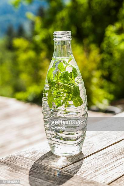 Bottle of water with mint leaves