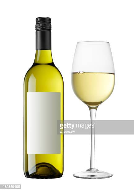 A bottle of white wine next to a wine filled glass
