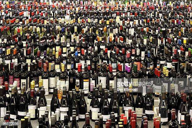 Bottle of wine are categorised ready for tasting during the 'International Wine Challenge' event at the Barbican centre on April 20 2010 in London...
