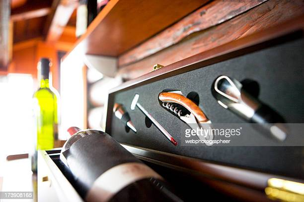 bottle of wine in box with accessories - bottle stopper stock photos and pictures