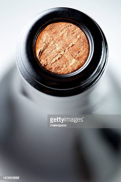 bottle of wine - cork material stock photos and pictures