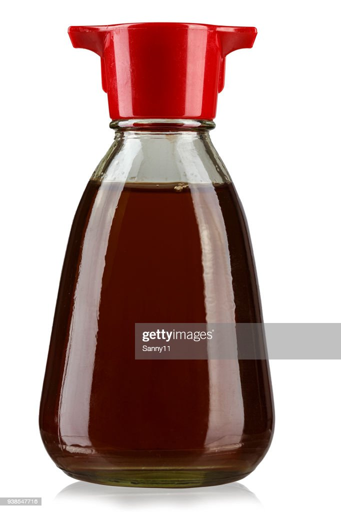 bottle with soy sauce, isolated on white background, place for text. : Stock Photo