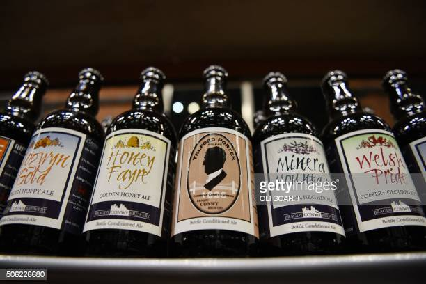 Bottled ales and bitter are displayed for sale at the Manchester Beer and Cider Festival in the Manchester Central exhibition centre in Manchester...