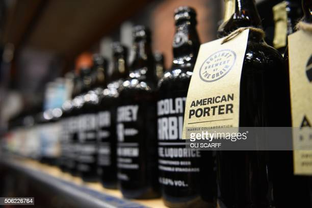 Bottled beers are displayed for sale at the Manchester Beer and Cider Festival in the Manchester Central exhibition centre in Manchester northwest...