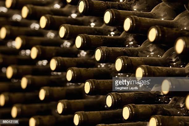 Bottled Red Wine aging in wine cellar
