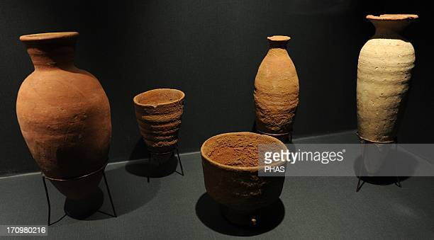 Bottles and bowls in fired clay First Intermediate Period C 21502050 BC From a tomb of burial area from Sedment Egypt Ny Carlsberg Glyptotek Museum...