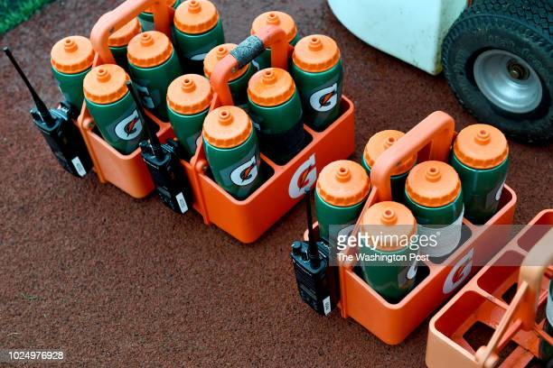 Bottles are marked with black or white tape to indicate the level of electrolytes used during practice at the Washington Redskins Park August 21 2018...