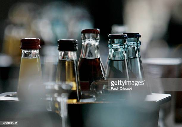 Bottles are pictured during the Deutsche Borse Group 2006 results news conference February 22 2007 in Frankfurt Germany