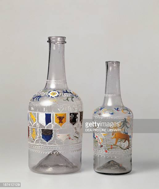 Bottles in colorless moldblown glass with a sight tinge of blue with decoration in polychrome enamels ca 1787 Switzerland 18th century Geneva Musée...