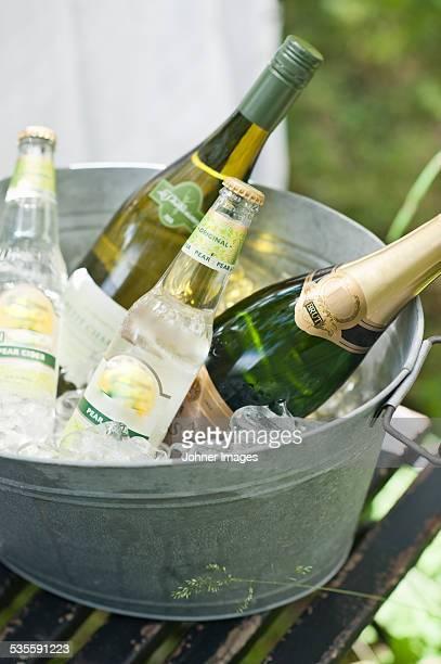 Bottles in ice