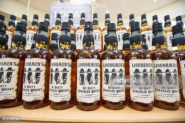 Bottles line the shelves as Bubbles and Ricky characters from Trailer Park Boys launched their Liquormen's Ol' Dirty Canadian Whisky with an...