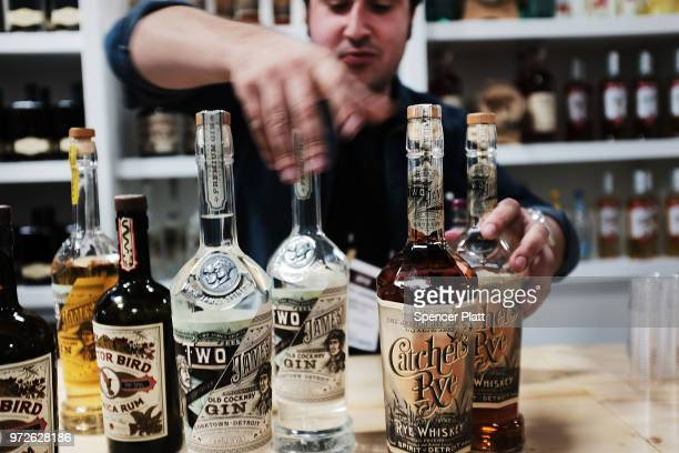 Bottles of alcohol are displayed at Bar Convent Brooklyn an international bar and beverage trade show at the Brooklyn Expo Center on June 12 2018 in...