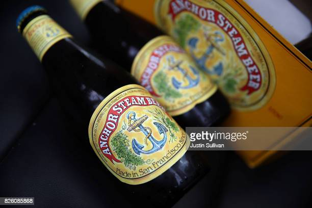 Bottles of Anchor Steam beer are displayed on August 3 2017 in San Rafael California San Francisco based Anchor Brewing announced plans to sell to...