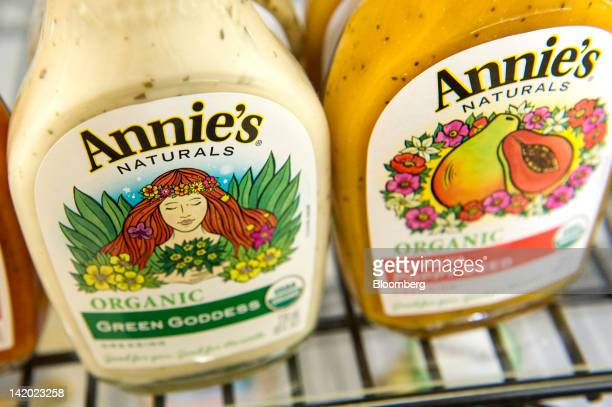Bottles of Annie's Inc salad dressing are arranged for a photograph at the company's corporate headquarters in Berkeley California US on Wednesday...
