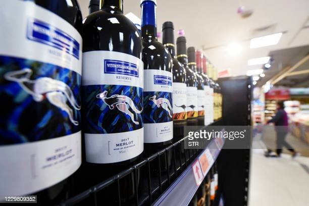 Bottles of Australian wine are displayed at a supermarket in Hangzhou, in eastern China's Zhejiang province on November 27, 2020. / China OUT