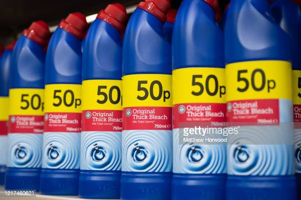 Bottles of bleach on sale in a supermarket on April 3, 2020 in Cardiff, United Kingdom.