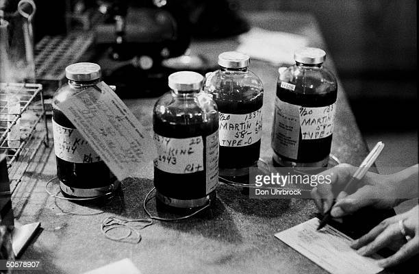 Bottles of blood sitting in the hospital Rev Martin Luther King is a patient