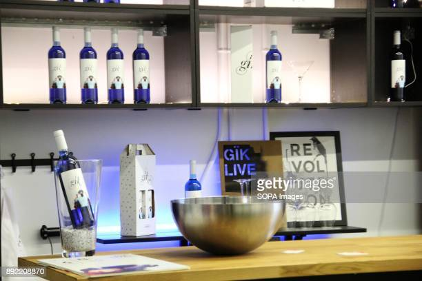 Bottles of blue wine seen at a tasting bar Gik Blue Wine is the first Blue wine in the world is Produced in Bilbao Spain Gik Blue combines red and...