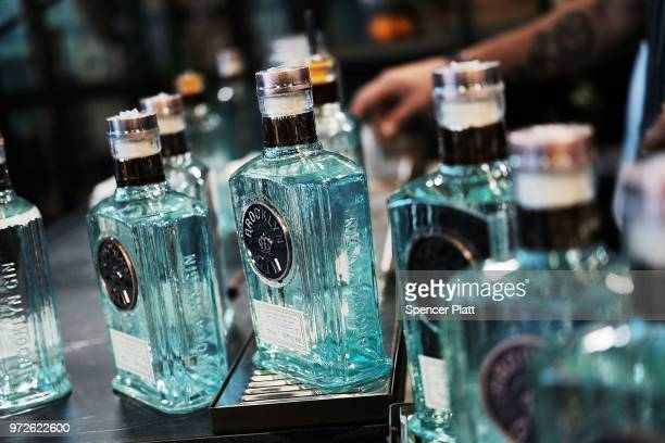 Bottles of Brooklyn Gin are displayed at Bar Convent Brooklyn an international bar beverage trade show at the Brooklyn Expo Center on June 12 2018 in...