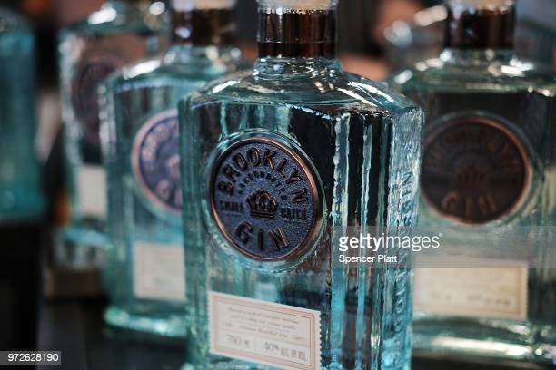 Bottles of Brooklyn Gin are displayed at Bar Convent Brooklyn an international bar and beverage trade show at the Brooklyn Expo Center on June 12...