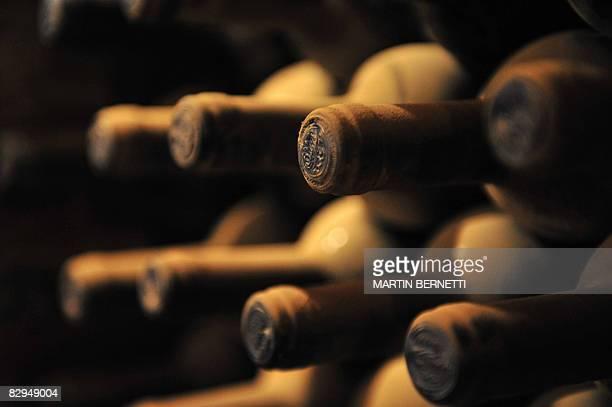 Bottles of Cabernet Sauvignon 1996 wine in the cellar of Viu Manent vineyard during the Grape Harvest Festival in Santa Cruz epicenter of the...