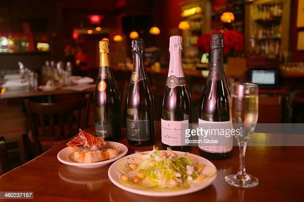 Bottles of cava, Spanish sparkling wine, at Taberna de Haro on Beacon Street in Brookline.