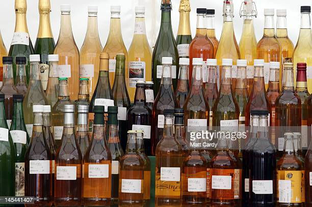 Bottles of cider are displayed for judging at the Royal Bath And West Show on May 30 2012 in Shepton Mallet England The fourday show which opens...