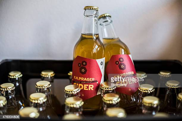 Bottles of cider sit in a crate at the FH Prager cider store in Prague Czech Republic on Friday June 5 2015 A generation after communism's demise...