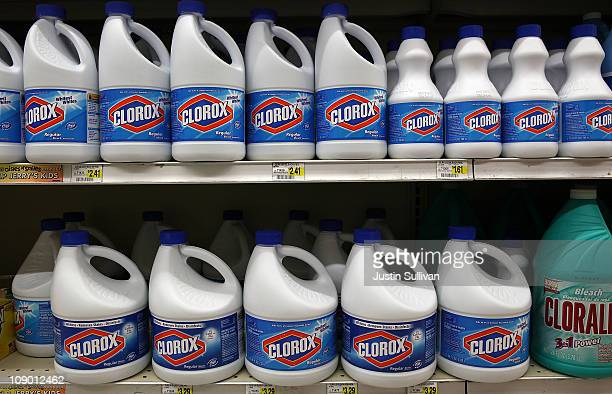 Bottles of Clorox bleach sit on a shelf at a grocery store on February 11 2011 in San Francisco California Shares of Clorox stock rose 76 percent to...
