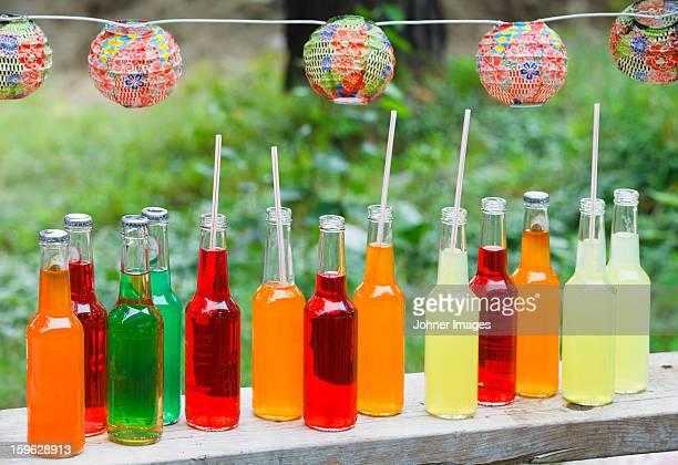 Bottles of coloured cold drink